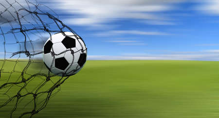 soccer kick: soccer ball in a net with hand drawn sketch on blur background