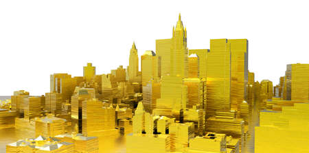 abstract gold city on white background photo