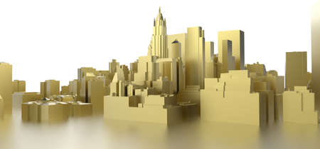 3d abstract gold city on white photo