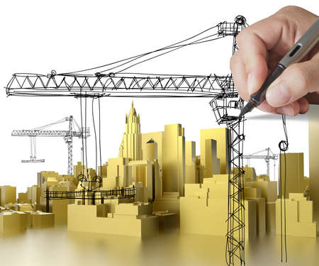 hand drawn golden building development concept photo