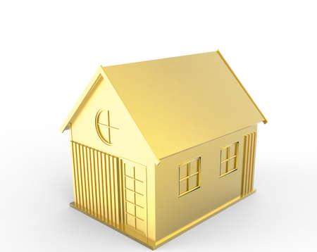 3d golden house symbol as concept photo