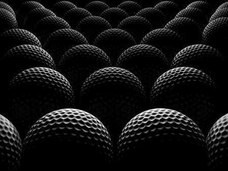 golf balls over dark background