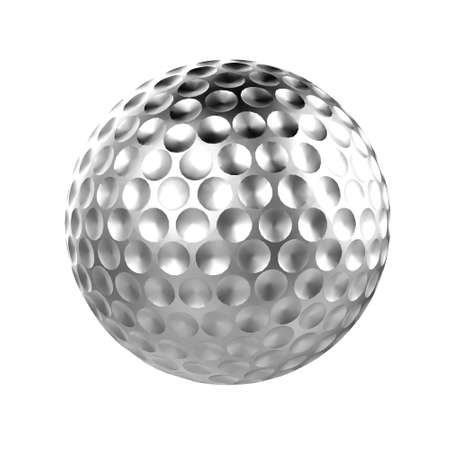 Silver 3d golf ball isolated
