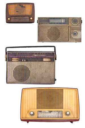Portable old soviet radio, isolated on white background. photo