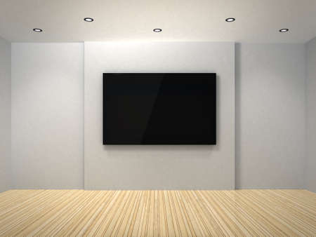 plazma: 3d TV in the white room Stock Photo