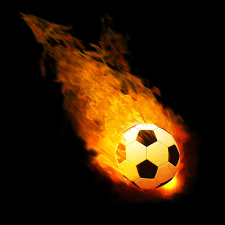 grassfield: Horizontal image of soccer ball with foot of player kicking it Stock Photo