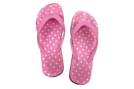 Pretty pink flip flop isolated on white background photo