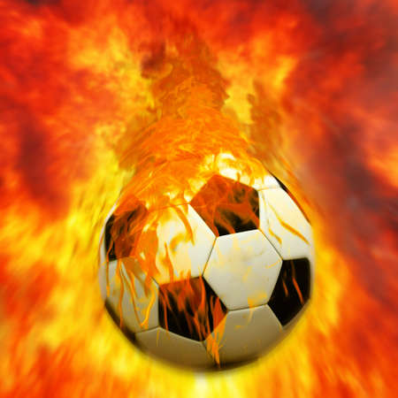 football boots: Horizontal image of soccer ball with foot of player kicking it Stock Photo