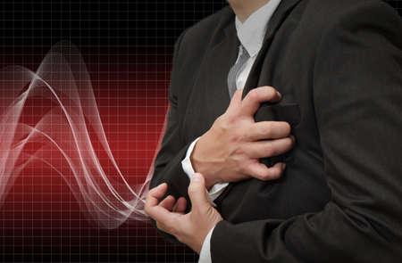 angina: Ataque al corazón del hombre de negocios Foto de archivo