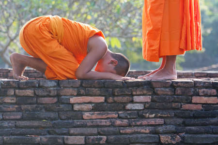 a group of young Buddhist monks Stock Photo