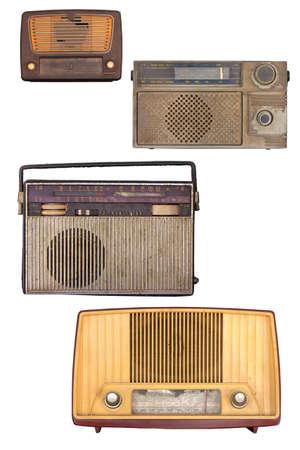 Portable old soviet radio, isolated on white background.