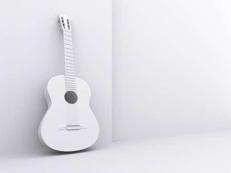 Obraz bílého kytaru pod bílém pozadí