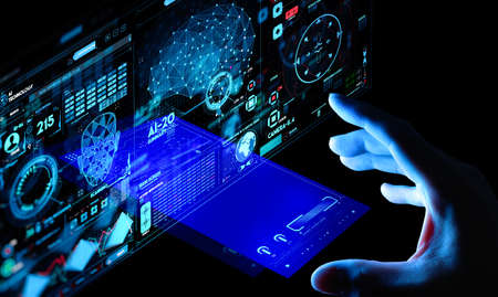 Business hand working with cryptocurrency and Ai smart phone interface. Stock Photo