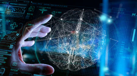 Close up of Doctor hand analyzing patient brain with human anatomy on technological digital tablet futuristic Ui and digital holographic innovative with science and medicine concept. Standard-Bild