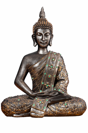Isolated Buddha statue with green gemstones