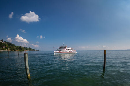 A passenger ferry runs to the port of Meersburg on Lake Constance.