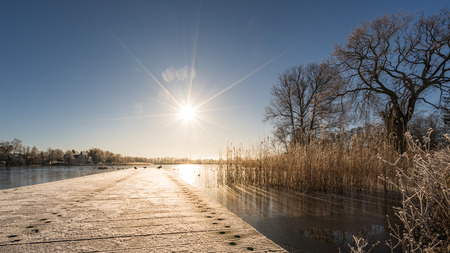 Sunshine over the frozen Schloonsee in Bansin.