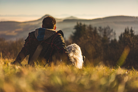 A man sits in the meadow with his dog and looks into the distance Reklamní fotografie