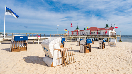 The historic pier of Ahlbeck on the sunny island of Usedom on the Baltic Sea.
