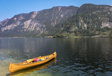 Canoe in lake at Hallstatt, Austria