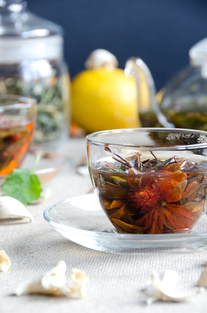 oolong tea: two cups oolong tea glass with fruit and glass kettle Stock Photo