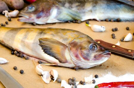 greenling: grinling fish with vegetables on baking paper