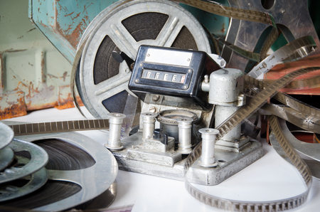 16mm: Old film reel cinematography with cinema accessories