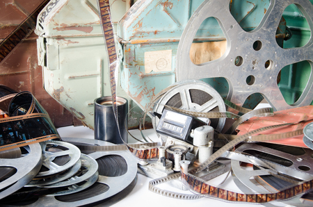 Old camera equipment cinematography with cinema accessories