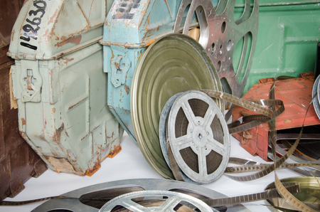 16mm: group of film reels with cinema accessories Stock Photo
