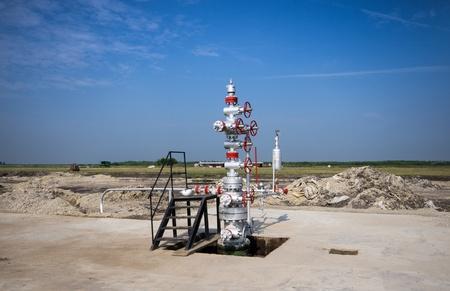 drilling platform: Oil drilling platform in the plain Stock Photo