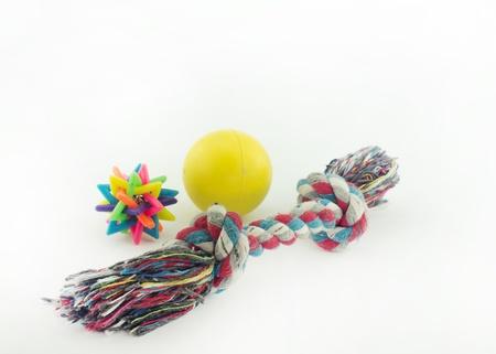 plastico pet: Juguetes, varios colores para perros aislados en fondo blanco