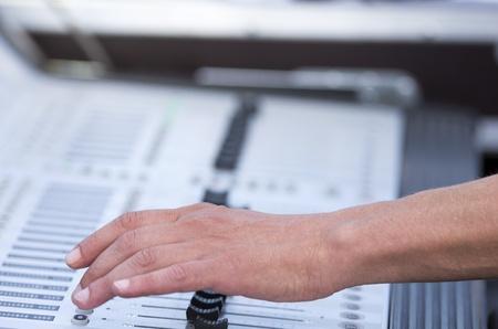 soundboard: Man working on soundboard