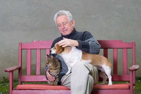 Senior man cuddles dog and cat on his lap on bench photo