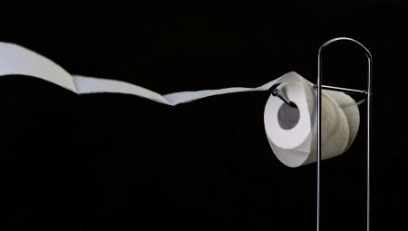 papel de baño: Rollo de papel higiénico en el soporte y el papel ondeando en el viento Foto de archivo