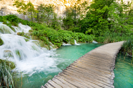 Wooden path in Natinal Park in Plitvice in Croatia photo