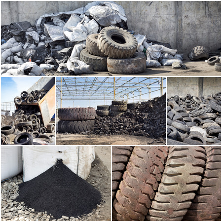 used: Collage of old used tires and rubber recycling industry