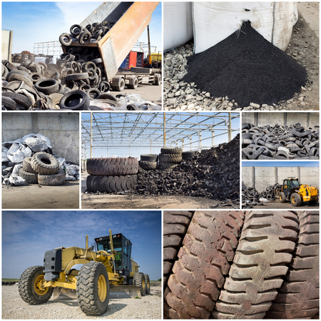 polluting: Collage of old used tires and rubber recycling industry