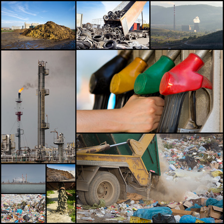 polluting: Collage of different ways of polluting environment