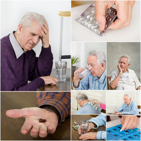 painkiller: Collage of old man with pain and medicals