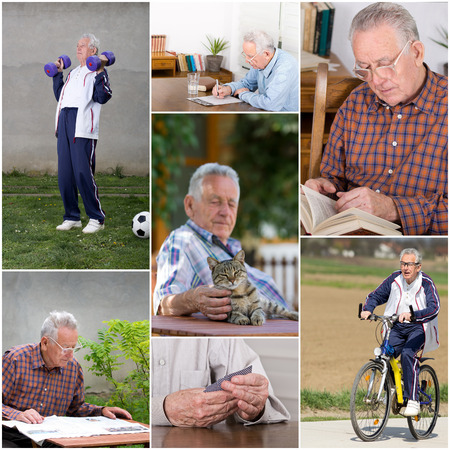 Collage of old man activities in retirement photo
