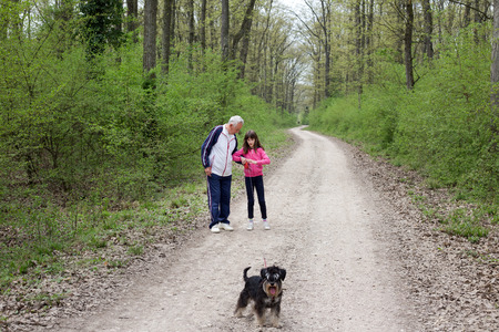Old man with his granddaughter walking with miniature schnauzer in forest photo
