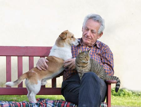 Hombre mayor con el perro y el gato en su regazo en el jardín Foto de archivo