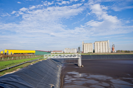 pollutant: Liquid cow manure in a storage pit Stock Photo