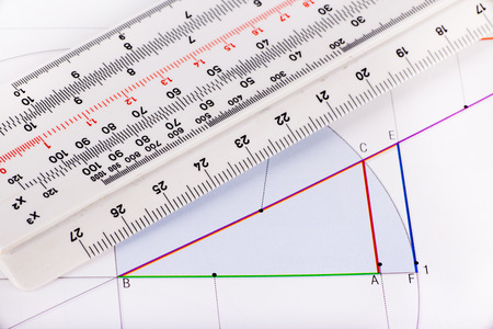 Graphic and ruler for calculation on white paper