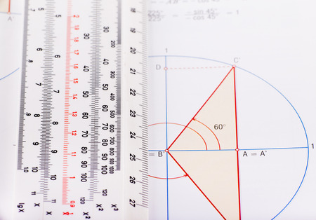 educational problem solving: Graphic and ruler for calculation on white paper