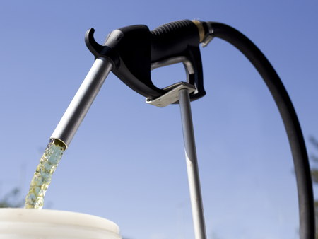 biodiesel: Machinery for pouring biodiesel into tank with measurement units