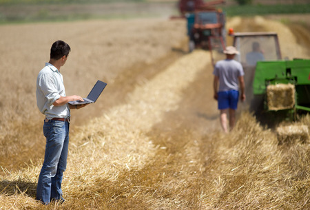 Young landowner with laptop supervising harvesting work photo