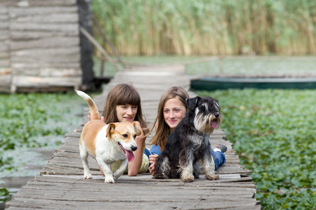fondling: Two lovely girls with cute dogs on wooden dock on the river