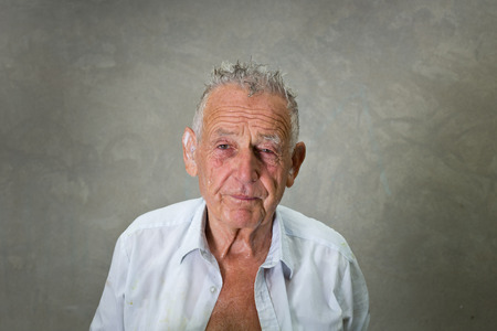 old man smiling: Portrait of wrinkled old man with wet hair