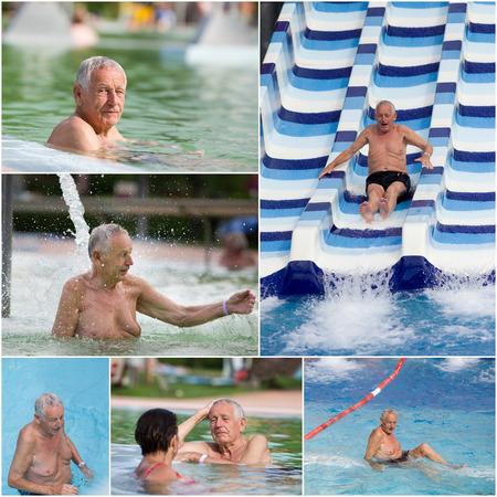 Senior man having fun in water park, collage photo